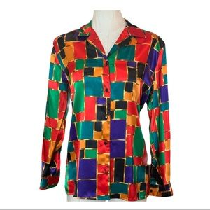 Vintage Color Block Jewel Tone Button Shirt XL
